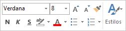 La minibarra de herramientas para agregar formato al texto del mensaje