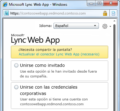 Opciones para unirse a una reunión con Lync Online