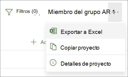 Captura de pantalla del menú de Project para la Web que muestra la opción Exportar a Excel