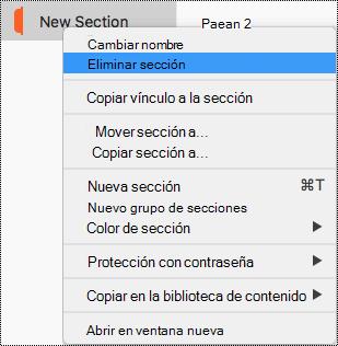 Menú contextual Sección en dispositivos Mac con la sección Eliminar resaltada.