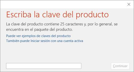 Se muestra el cuadro de diálogo donde se escribe la clave del producto.