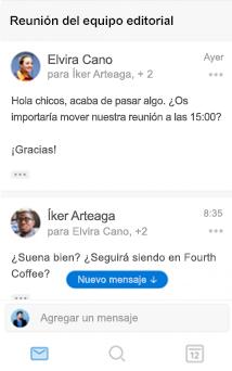 Nueva experiencia conversacional en Outlook para iOS