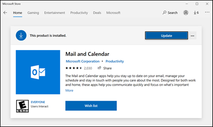 Actualice las aplicaciones correo y calendario a través de la tienda de aplicaciones de Microsoft.