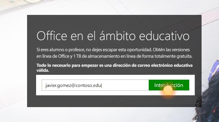 Captura de pantalla de la página de inicio de sesión de introducción.