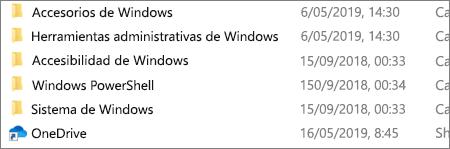 Una captura de pantalla que muestra la aplicación de OneDrive en el Explorador de archivos.