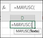 Captura de pantalla de la barra de herramientas Referencia de funciones