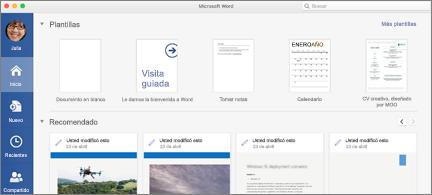 Página principal de Word en la que se muestran los archivos recomendados