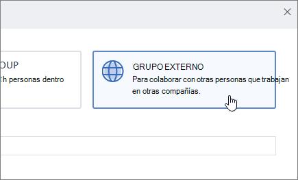 Captura de pantalla que muestra la pantalla crear un grupo en Yammer con el grupo externo seleccionado.