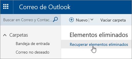 Captura de pantalla del botón Recuperar elementos eliminados.