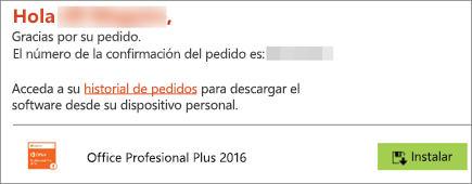 Muestra el botón Instalar en el correo electrónico de Home Use Program