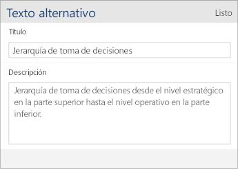 Captura de pantalla del cuadro de diálogo de texto alternativo de Word Mobile que contiene los campos Título y Descripción.