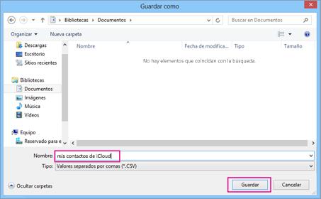 Escriba un nombre para el archivo CSV y, a continuación, elija Guardar.