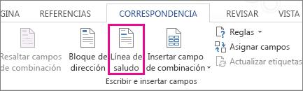 Captura de pantalla de la pestaña Correspondencia de Word, donde se muestra el comando Línea de saludo resaltado.