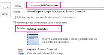 Invitación para compartir el Buzón correo electrónico externamente: configuración del cuadro Para y Detalles