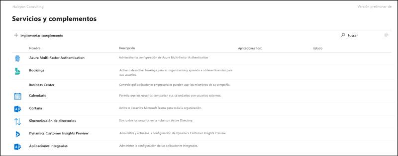 Captura de pantalla: página de configuración y complementos en la versión preliminar del centro de administración de Microsoft 365.