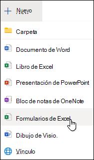 Opción insertar formulario para Excel en Excel para la web