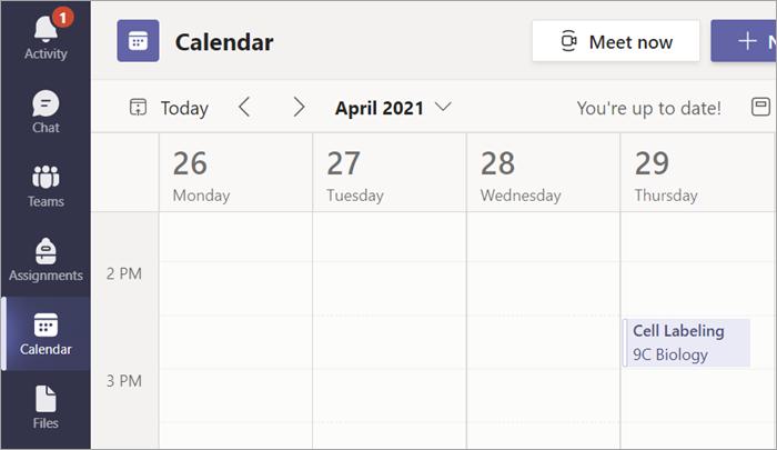 Etiquetas de celda de Tarea para una clase de biología que aparece en un calendario de Teams