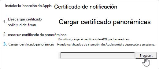 Haga clic en el botón Explorar para seleccionar certificados de APN que ha descargado de Apple.