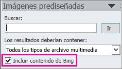 Casilla Incluir contenido de Bing