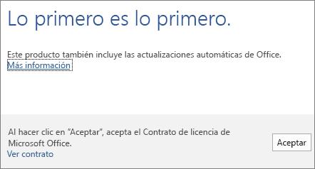 Acepte las condiciones del Contrato de licencia haciendo clic en Aceptar