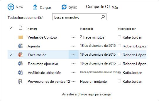 Cuadro de diálogo de la biblioteca de documentos de sharepoint con varios archivos en él.