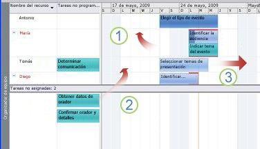 Desplazamiento de tareas en el Organizador de equipo