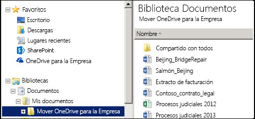 La carpeta de ensayo después de mover los archivos de la carpeta OneDrive para la Empresa de SharePoint