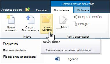 Cinta de opciones de documentos de SharePoint 2010 con la nueva carpeta resaltado