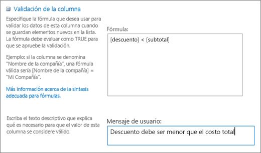 Cuadro de diálogo Validación de columnas con campos rellenados con datos de ejemplo