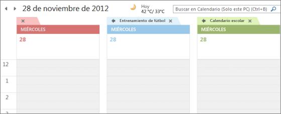 Múltiples calendarios con distintos colores de fondo