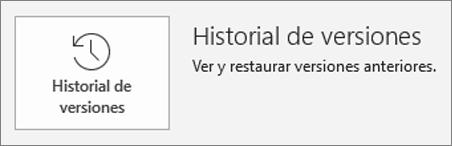 Botón para el historial de versiones dentro de la página de información
