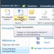 Carga de documentos en la Biblioteca temporal