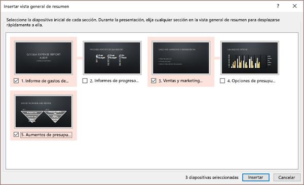 Se muestra el cuadro de diálogo Insertar vista general de resumen en PowerPoint para una presentación sin secciones existentes.