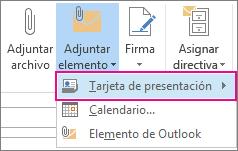 Adjuntar elemento > Tarjeta de presentación