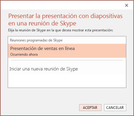 Muestra el cuadro de diálogo Presentar en línea en PowerPoint