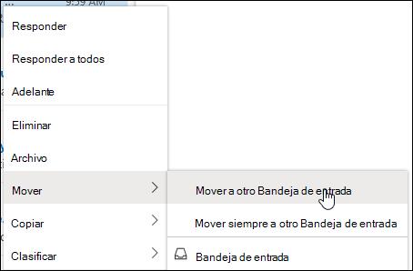 Captura de pantalla que muestra el menú contextual con las opciones de mover a otra bandeja de entrada y mover siempre a otra bandeja de entrada.