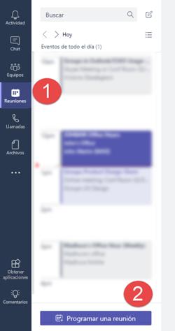 """En la ficha reuniones, haga clic en """"programar una reunión"""" para agregar una reunión a su calendario"""