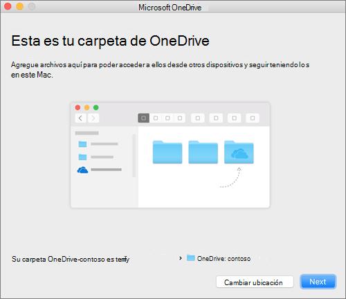 Captura de pantalla de la pantalla Esta es tu carpeta de OneDrive después de elegir una carpeta en el asistente de bienvenida a OneDrive en un equipo Mac