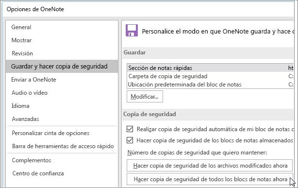 Captura de pantalla del cuadro de diálogo Opciones de OneNote en OneNote 2016.