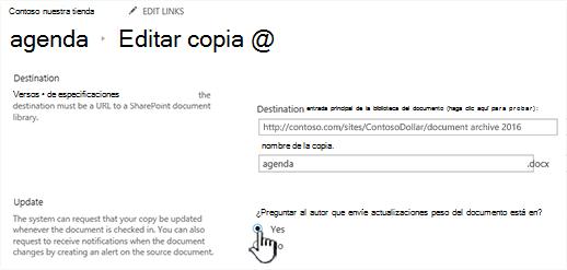 Haga clic en sí en la sección preguntar al autor que debe enviar las actualizaciones cuando se active el documento