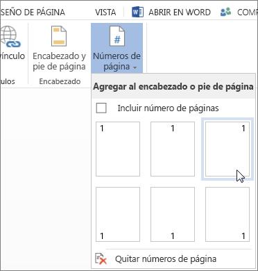 Galería de Números de página en Word Online
