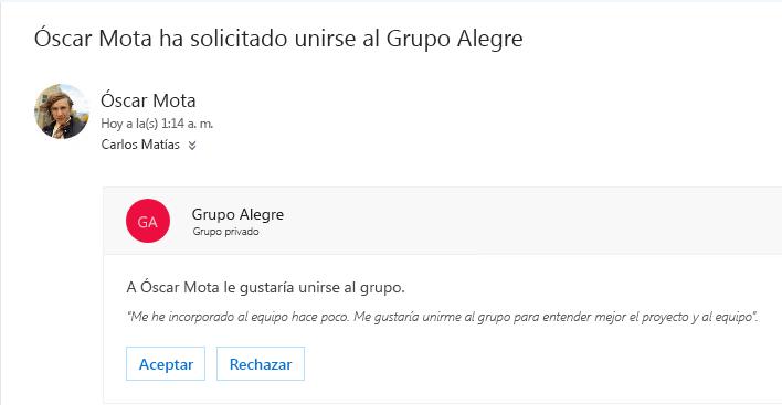 Un usuario puede descubrir un grupo y es posible que quiera unirse a él. Si el grupo es privado, propietario obtiene un correo electrónico con la solicitud. El propietario puede aprobar o rechazar la solicitud.