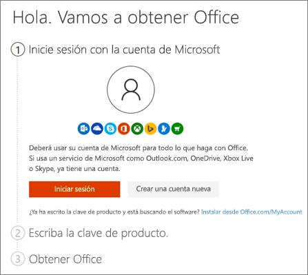 Muestra la página inicial de setup.office.com
