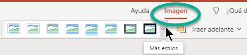 La pestaña Imagen de la cinta de opciones está disponible cuando se selecciona una imagen en la diapositiva.