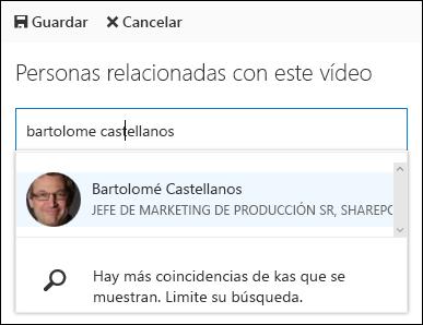 Office 365 vídeo asociar personas