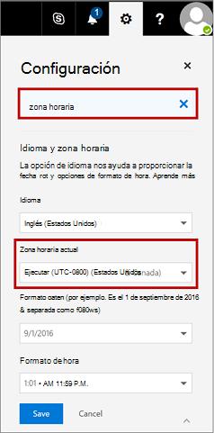 Página de configuración de zona horaria actual de muestra