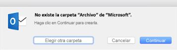Este mensaje se muestra la primera vez que usa el botón Archivo en Outlook 2016 para Mac