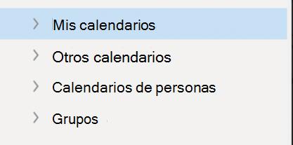 Navegación izquierda del calendario