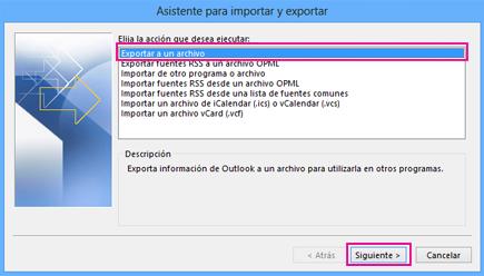 Asistente para exportación de Outlook - Exportar a un archivo
