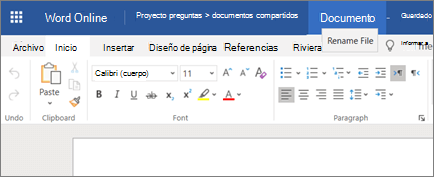 Clicking the title bar to change the name of a document Word Online